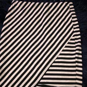 Black and White Asymmetrical Skirt